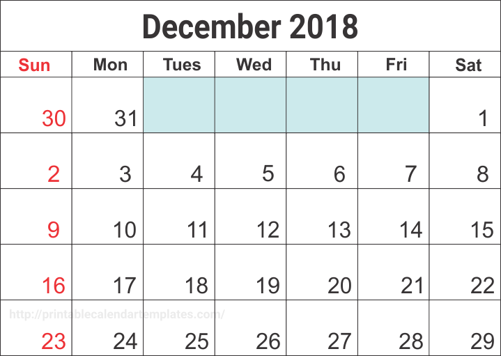 Blank Calendar December 2018 Daily Weekly Planner Templates