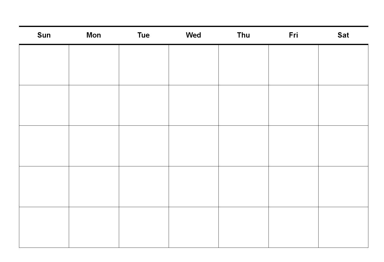 Blank Calendar Monthly Template Printable