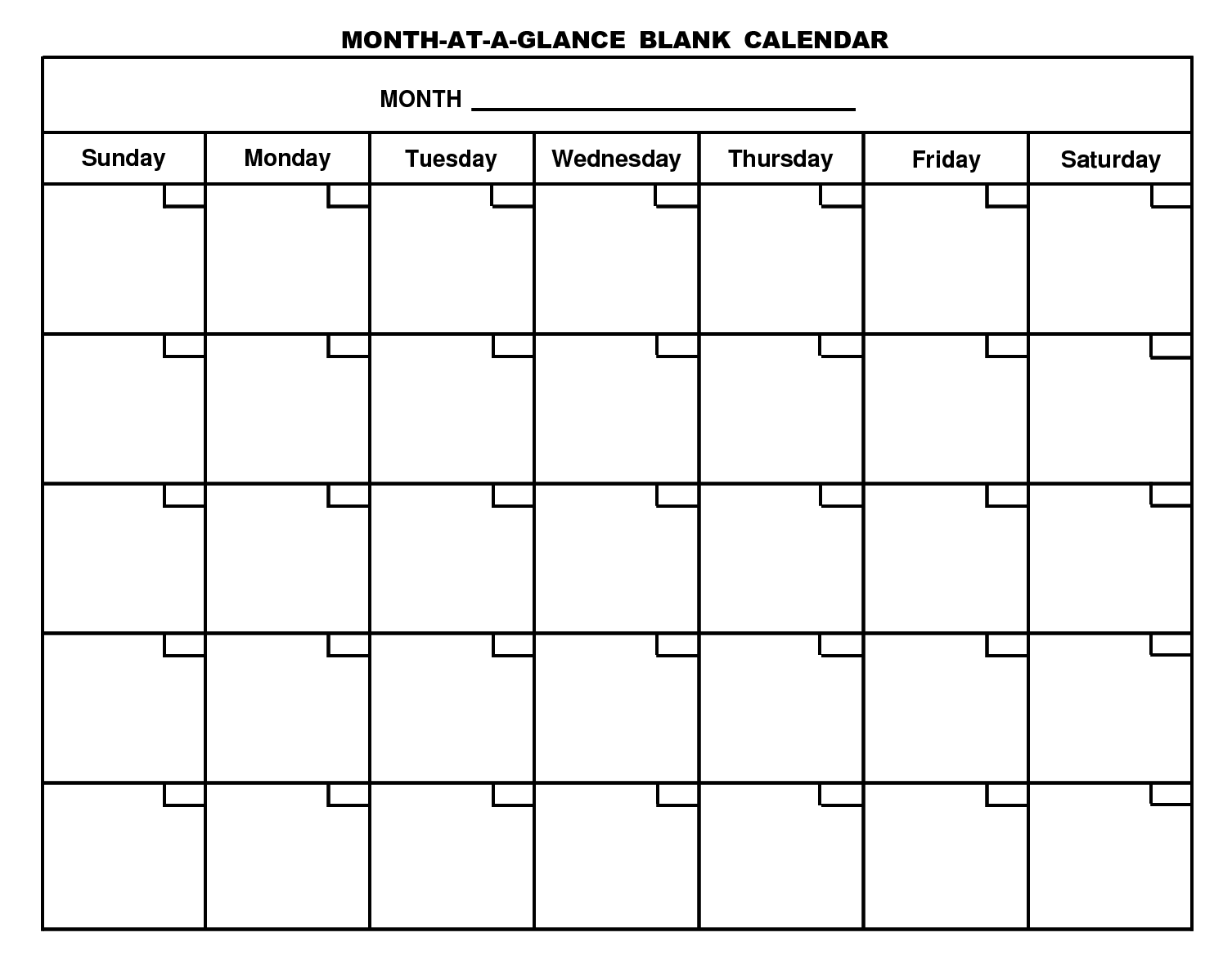 Blank Calendar Template Download Free