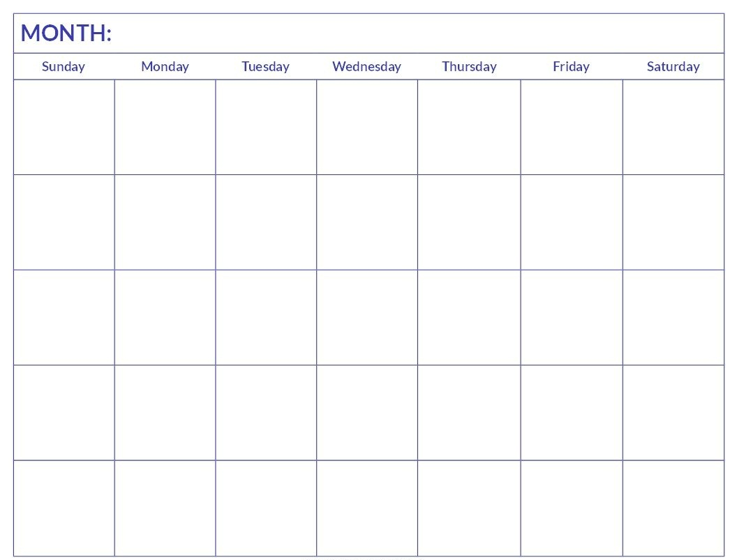 Blank Calendar Template Word Download