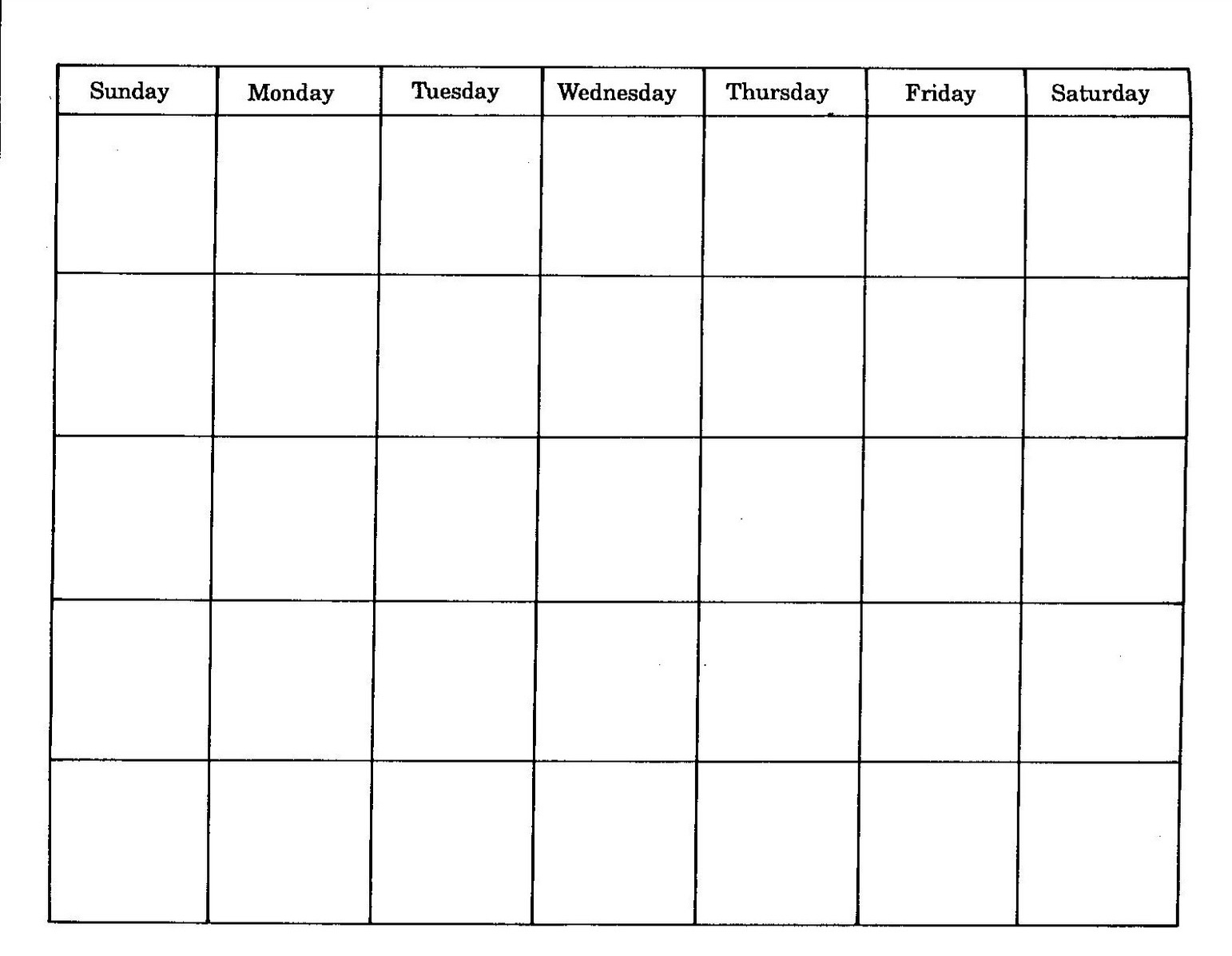 Blank Monthly Calendar Template Document