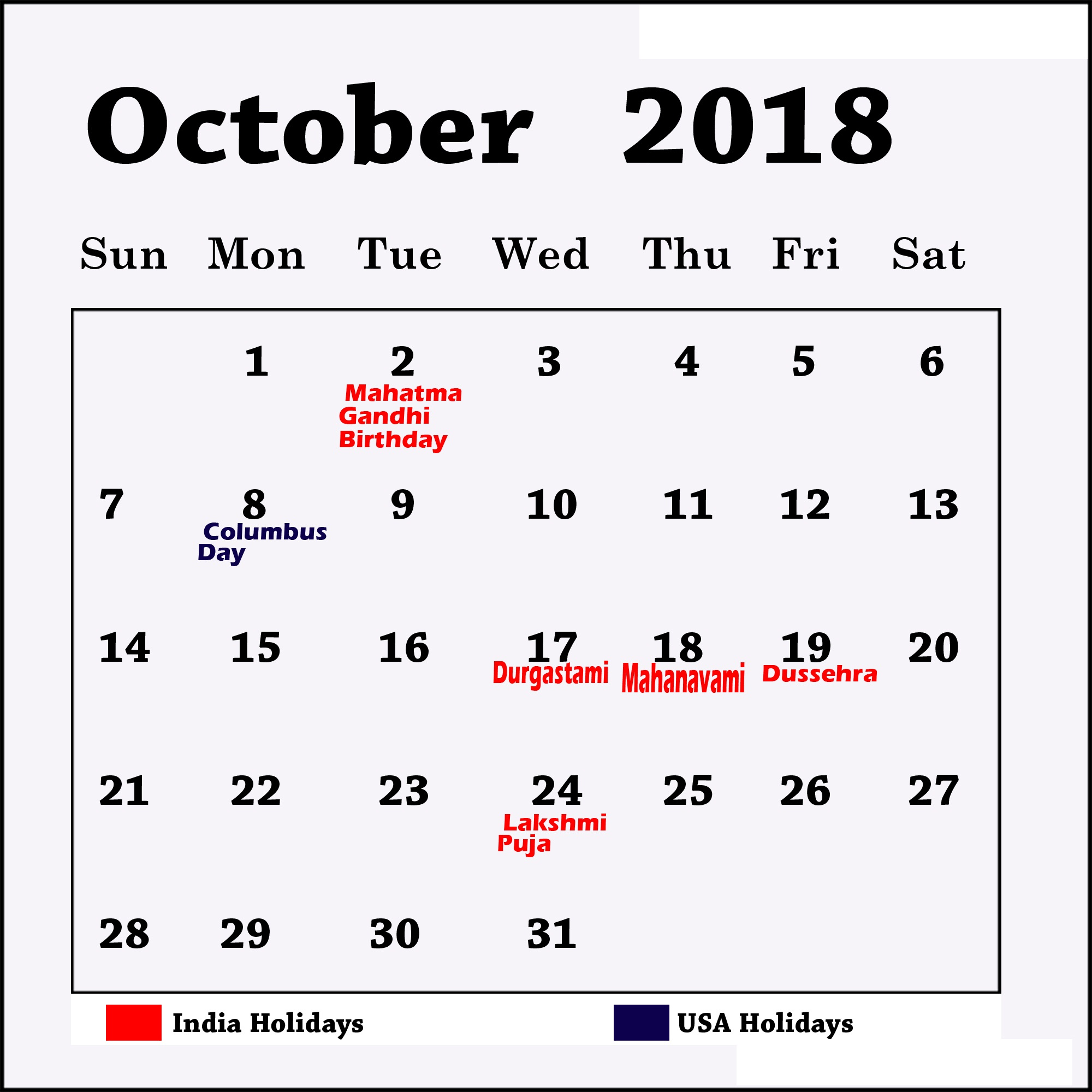 graphic regarding Calendar Printable With Holidays titled Oct 2018 Calendar Printable With Holiday seasons