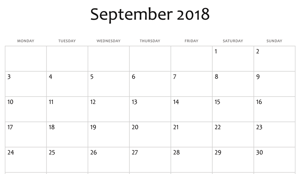 Blank September 2018 Spreadsheet Calendar