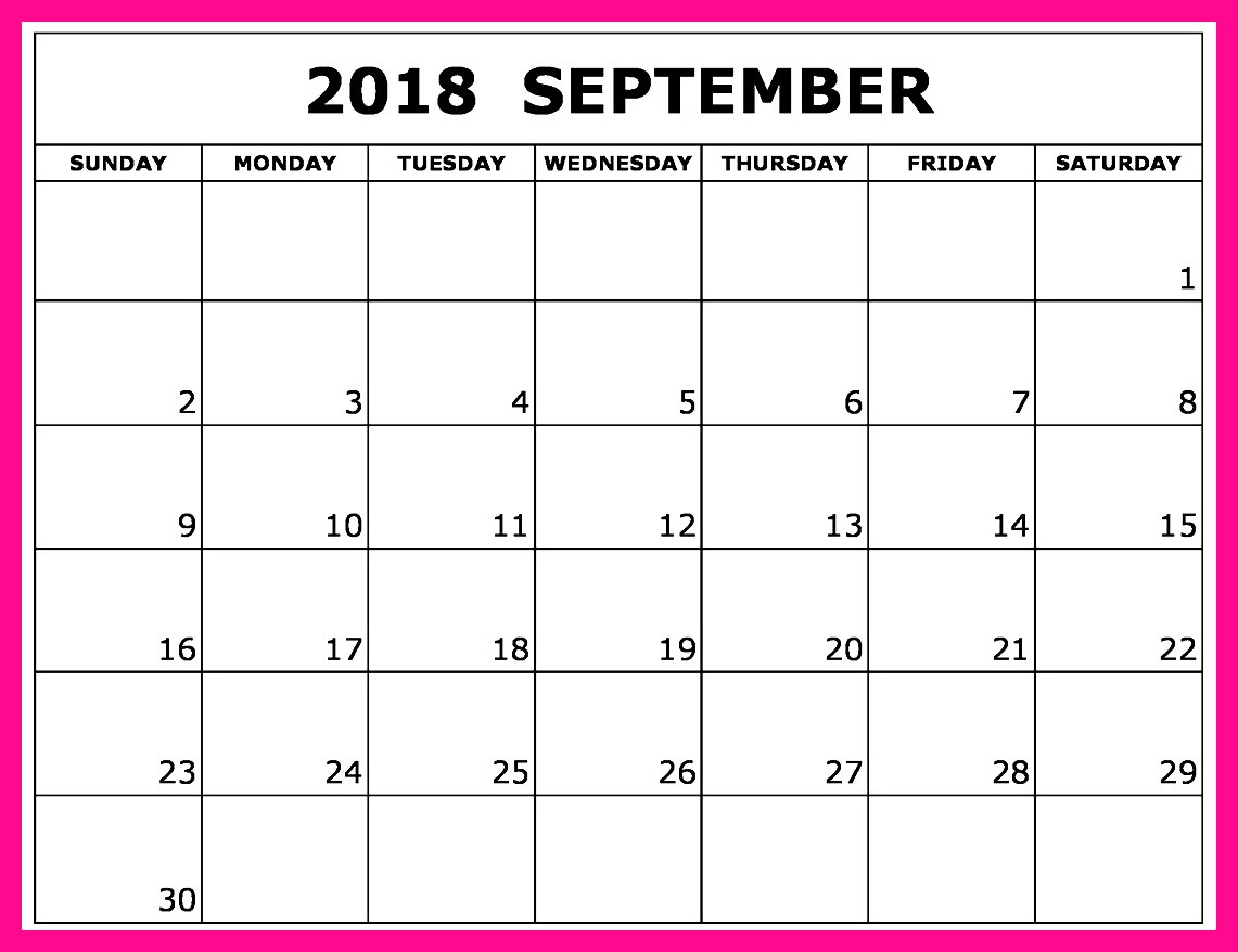 Cute September 2018 Calendar Excel