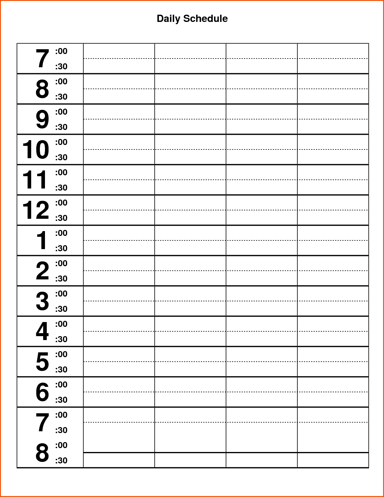 Daily Calendar Template Pdf Table