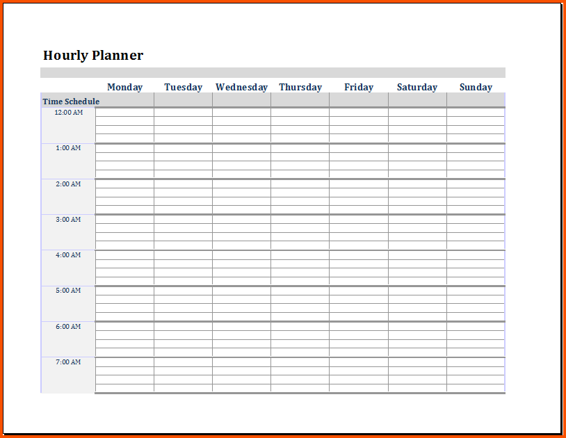 Hourly Agenda Template In Pdf Excel Word