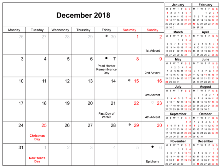 December 2018 Holidays Calendar With Moon Phases