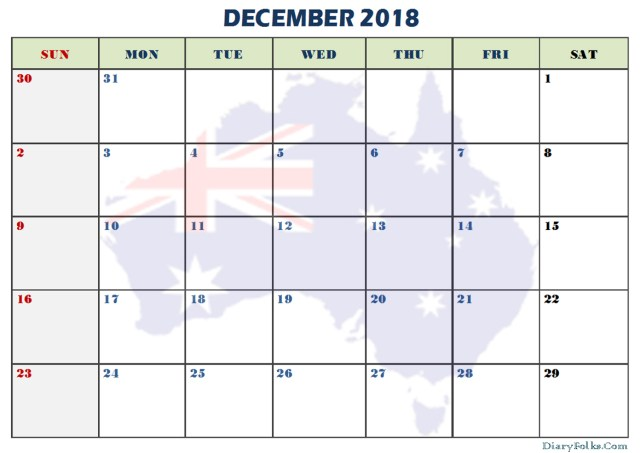 December 2018 Printable Calendar Australia Flag Background