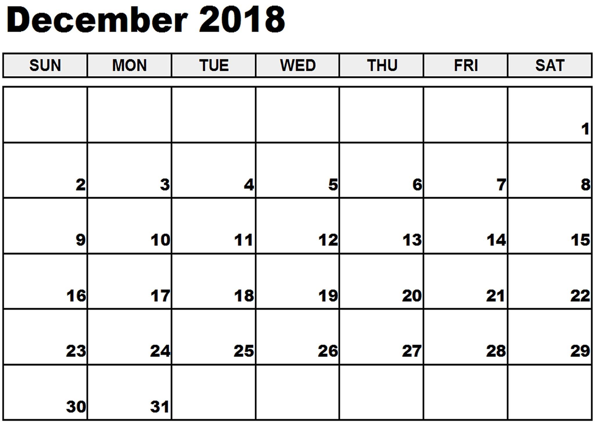 December 2018 Printable Calendar Download