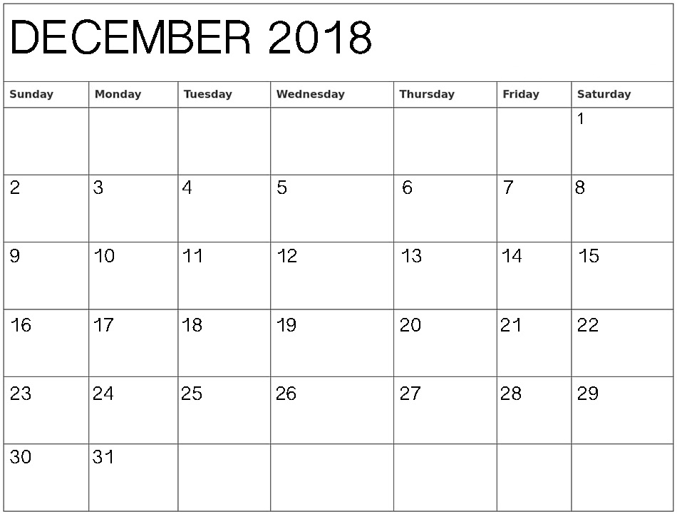 December 2018 Printable Calendar For Office