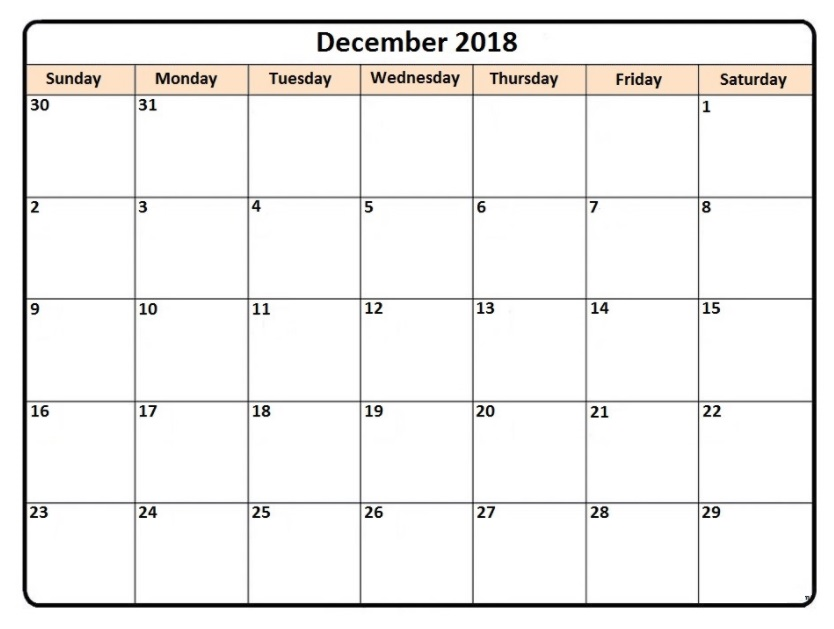 December 2018 Printable Calendar Monthly Planner