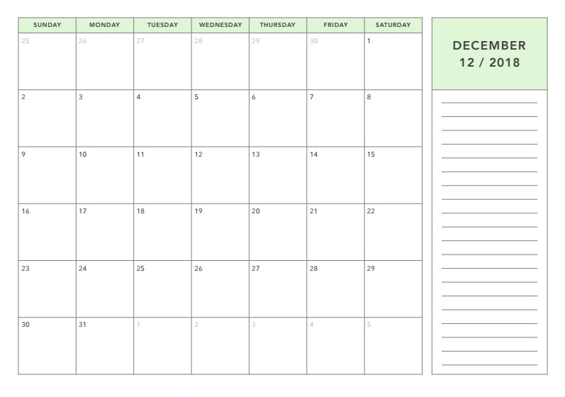 December Month Calendar Blank Templates With Holidays