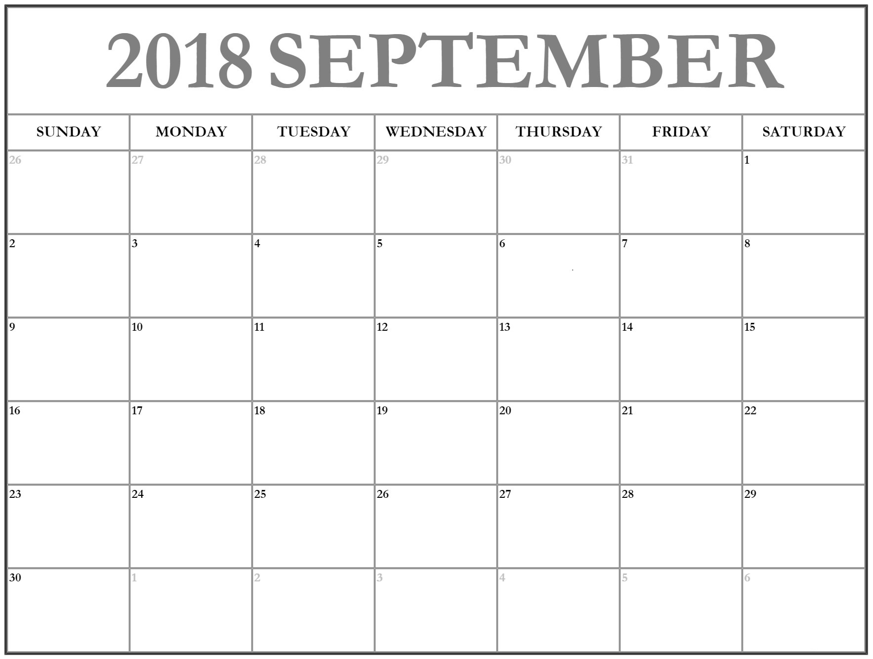 Download September 2018 Calendar Excel