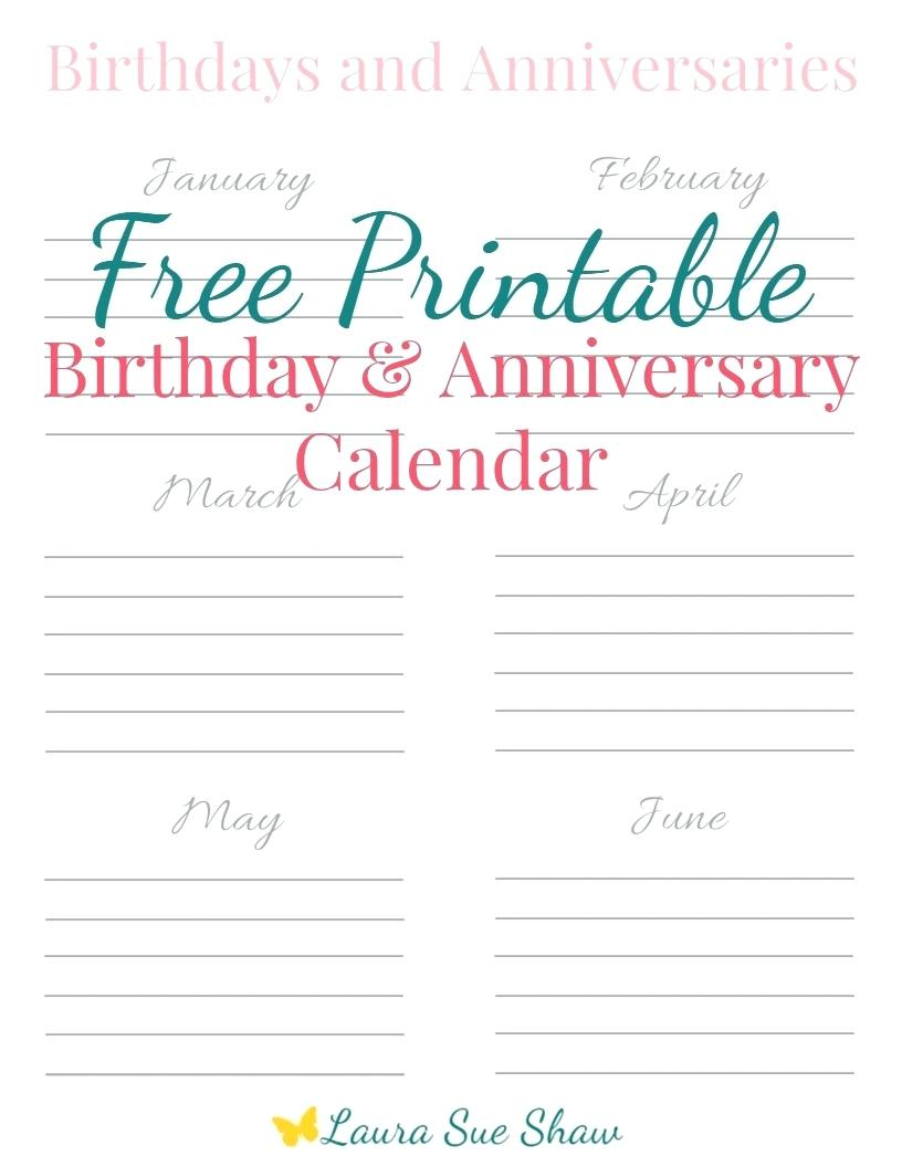 Editable Birthday Calendar Template Printable