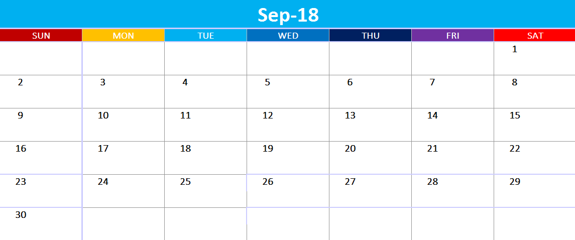 Excel September 2018 Calendar Printable
