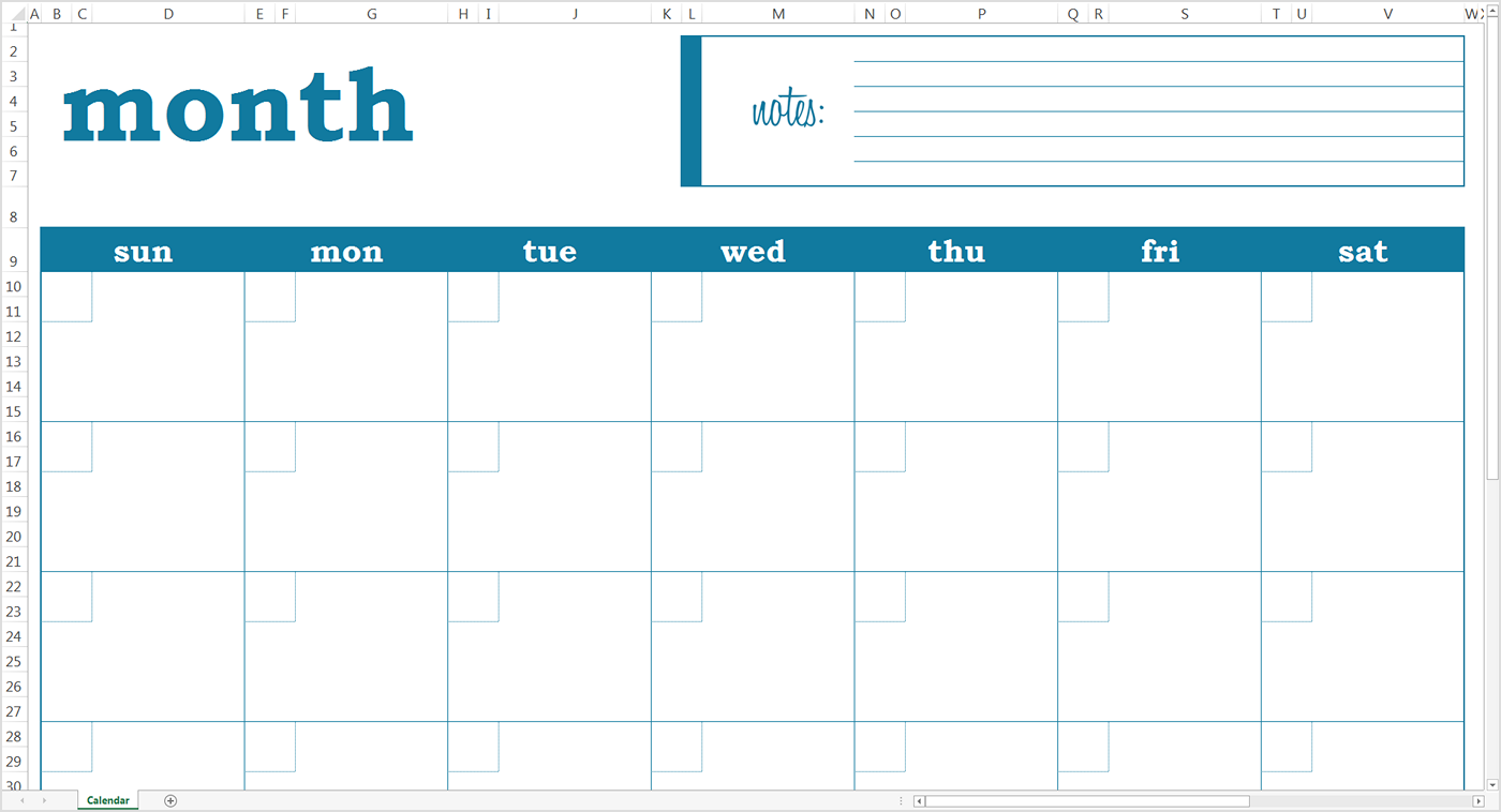 Free Monthly Calendar Template Document