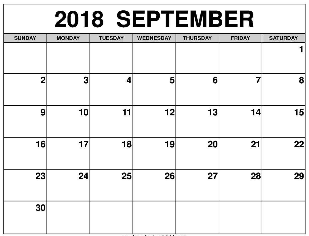 Free Printable September 2018 Calendar Excel