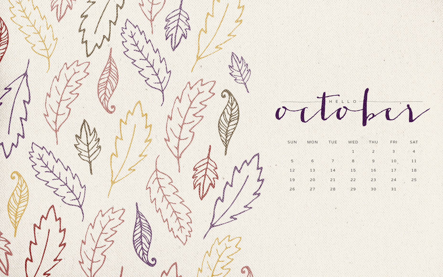 Hello October Desktop Wallpaper
