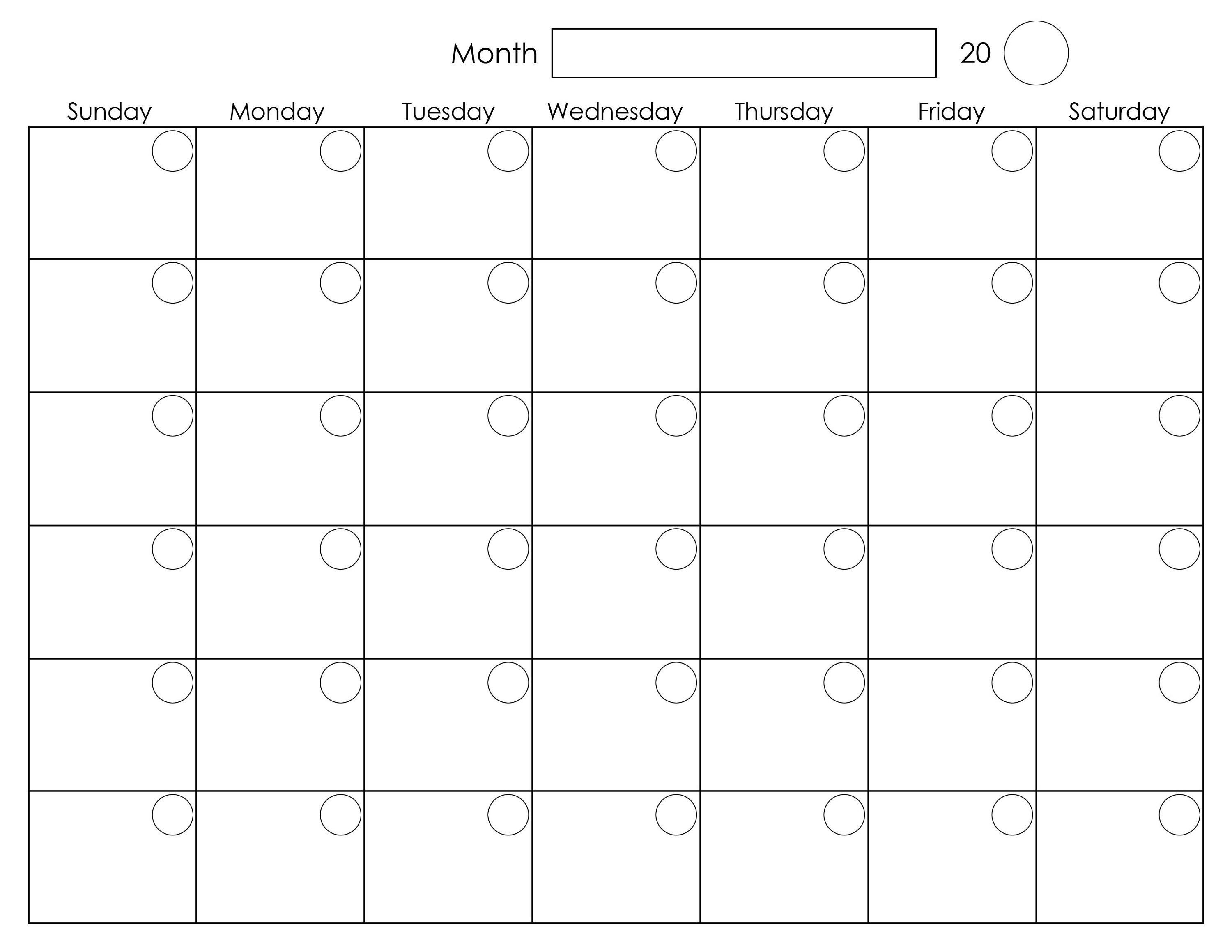 Monthly Calendar Template Design Download