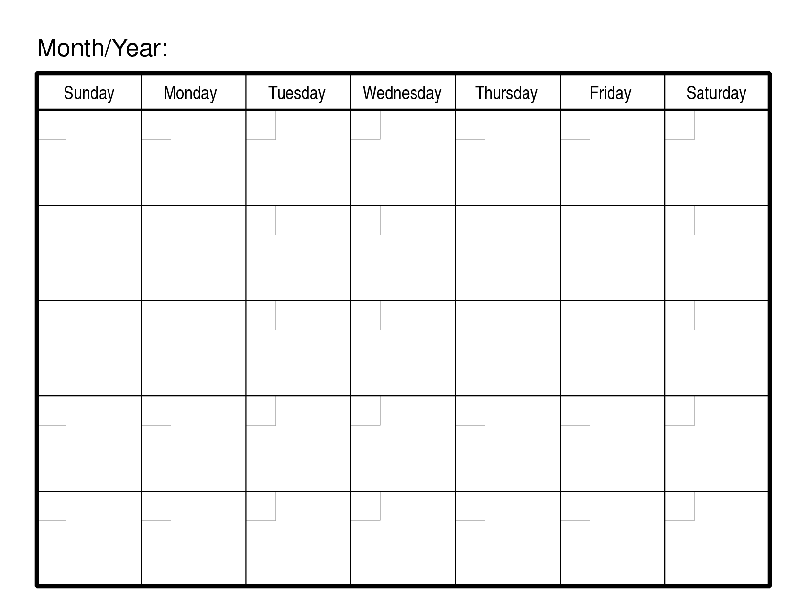 Monthly Calendar Template Editable Planner