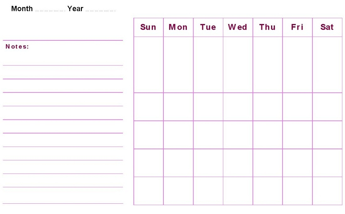 Monthly Calendar Template Free Printable