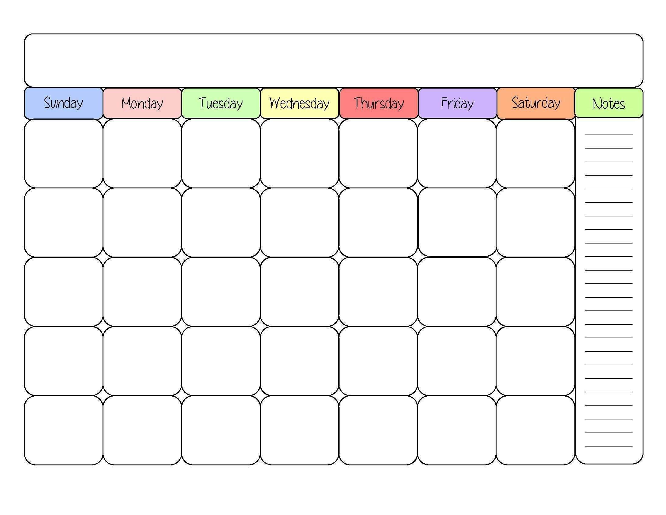 Monthly Calendar Template Printable PDF