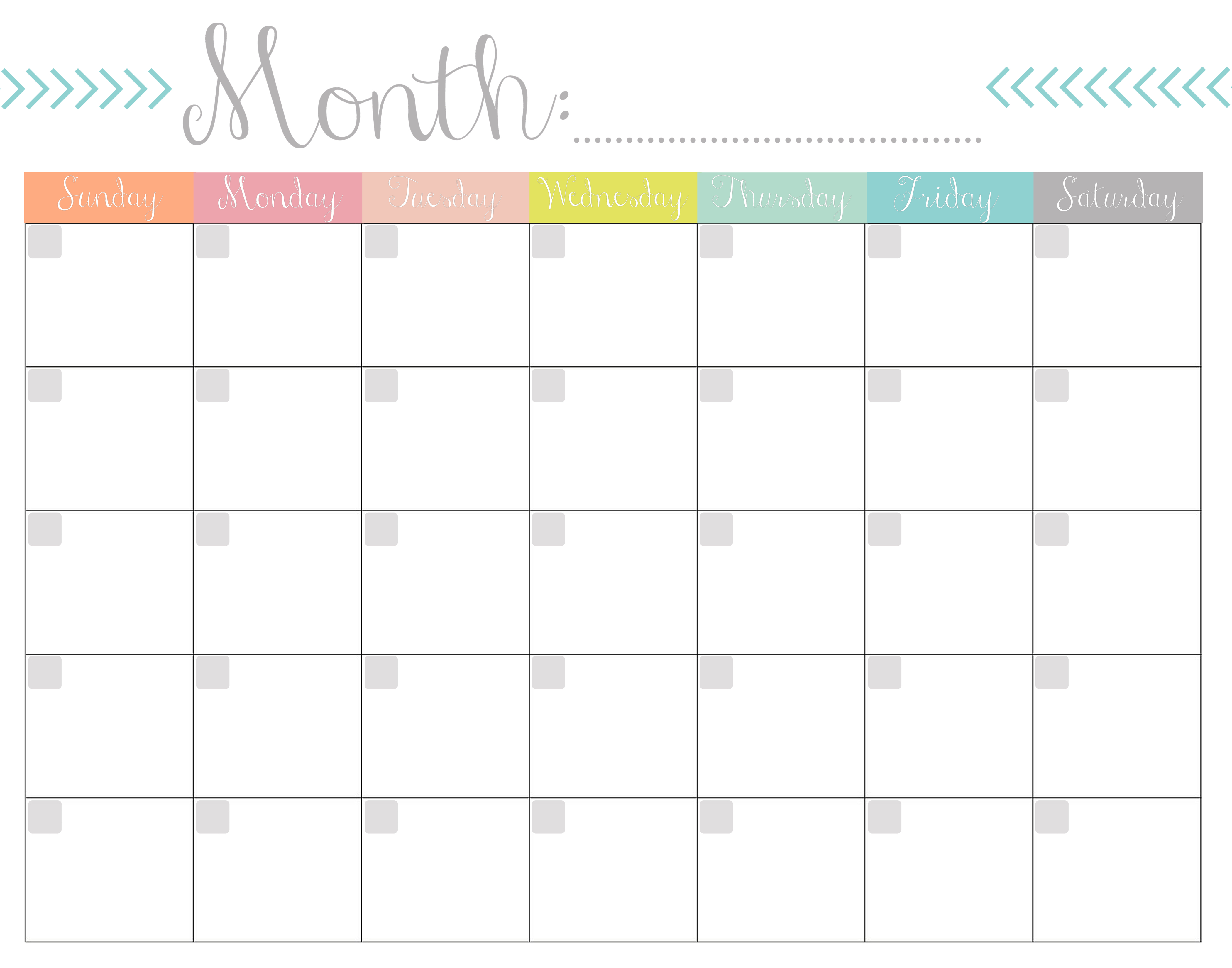 Monthly Calendar Template Waterproof page