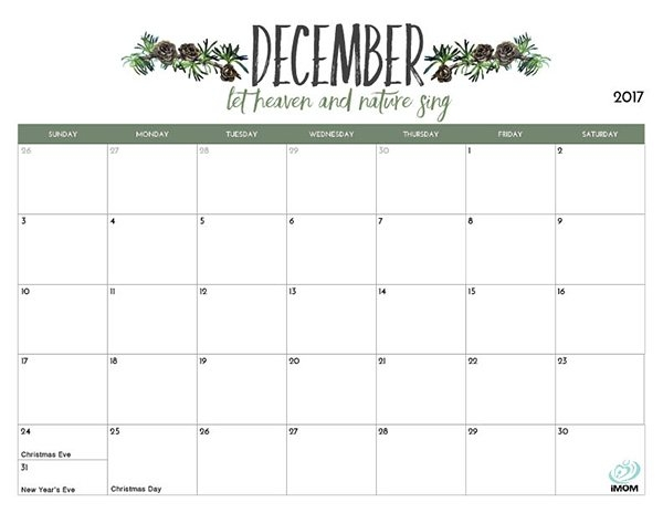 Monthly December 2018 Printable Calendar