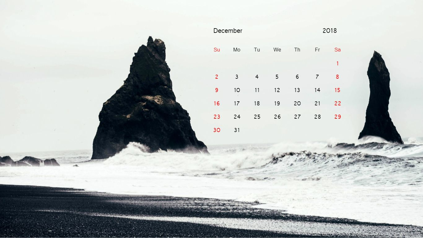Nature December 2018 Calendar Wallpaper