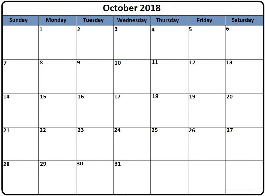 October 2018 Calendar Template With Notes