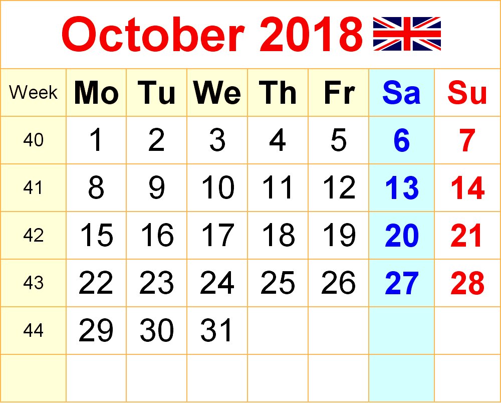 October 2018 Calendar With Holidays Printable Template