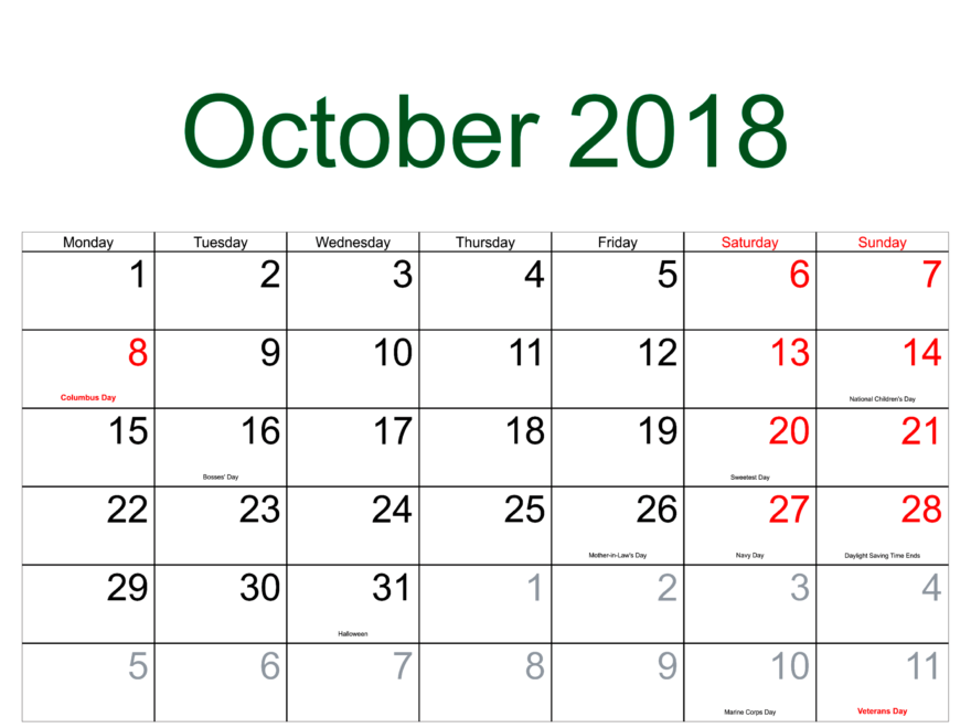 October 2018 Calendar With Printable Holidays Template