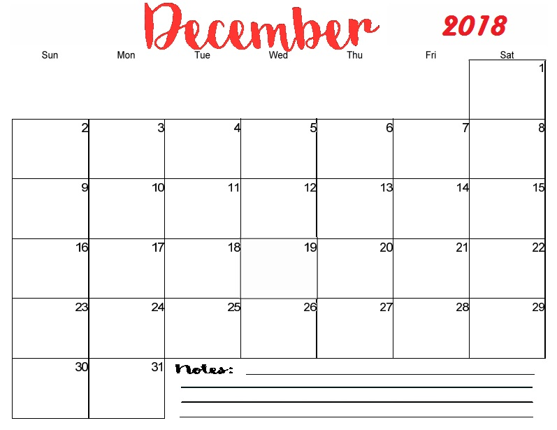 Printable December 2018 Calendar Templates In Pdf Word Excel