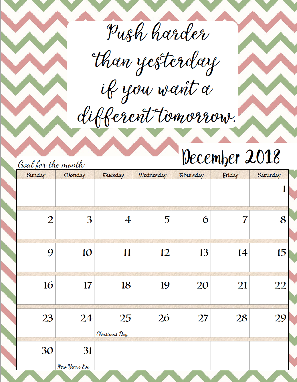 Printable Calendar December 2018 Quotes With Holidays