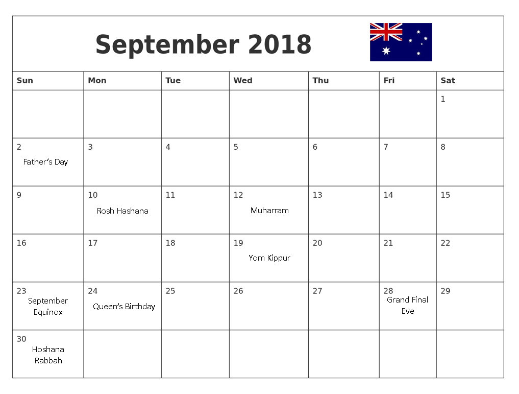 September 2018 Calendar Australia National Holidays