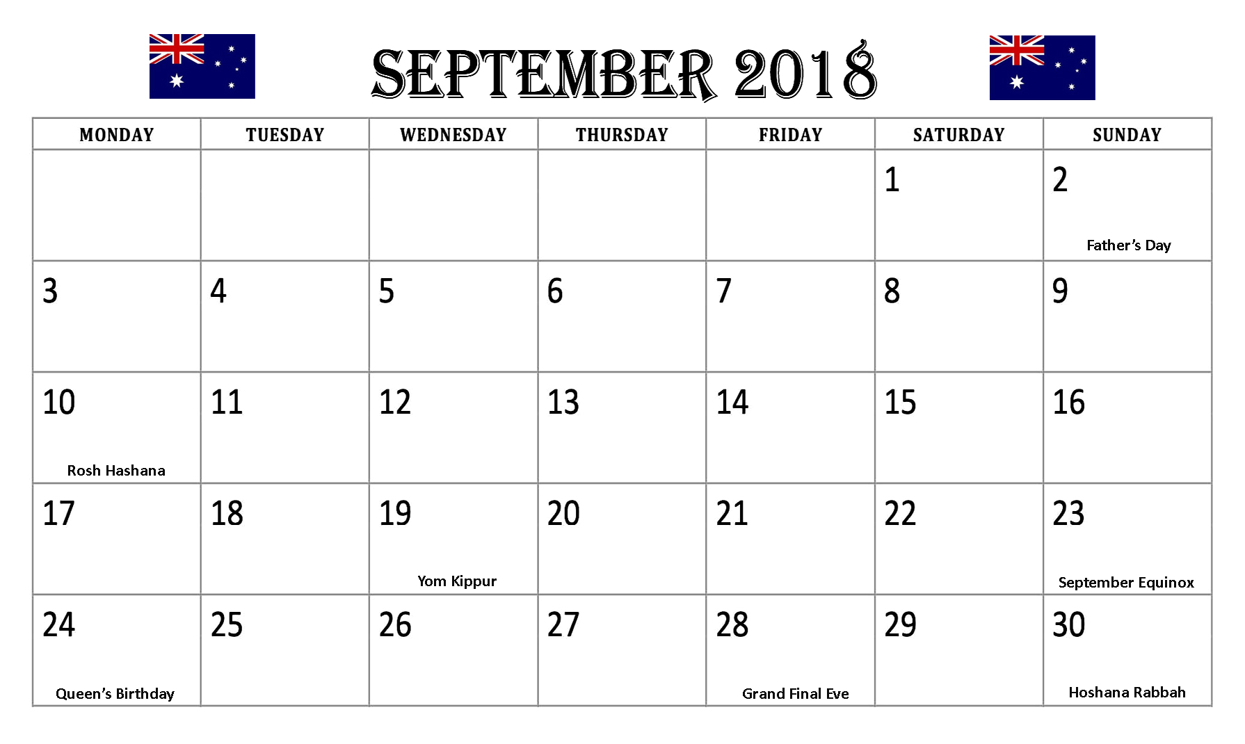 September 2018 Calendar Australia With Holidays