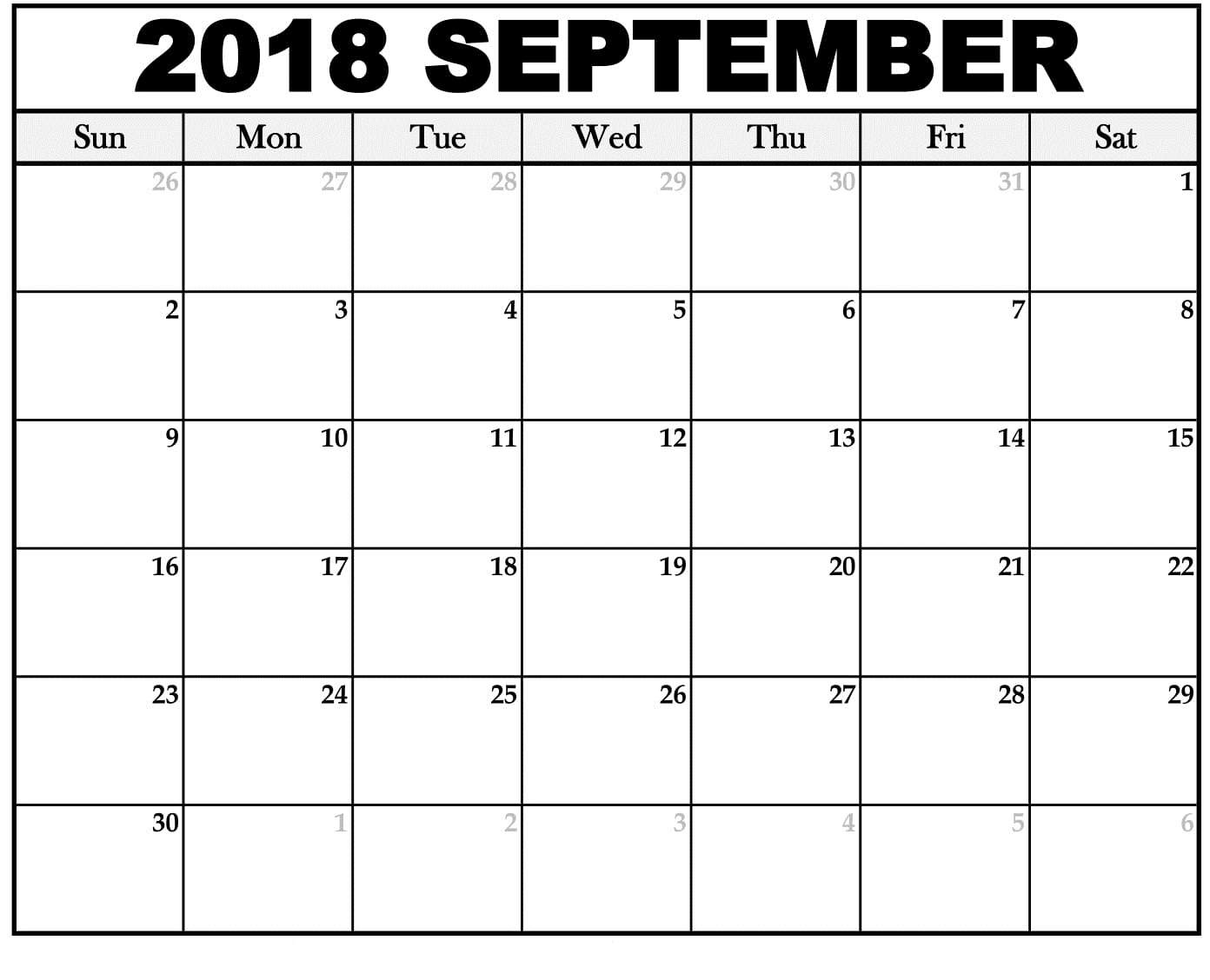September 2018 Calendar Excel Design