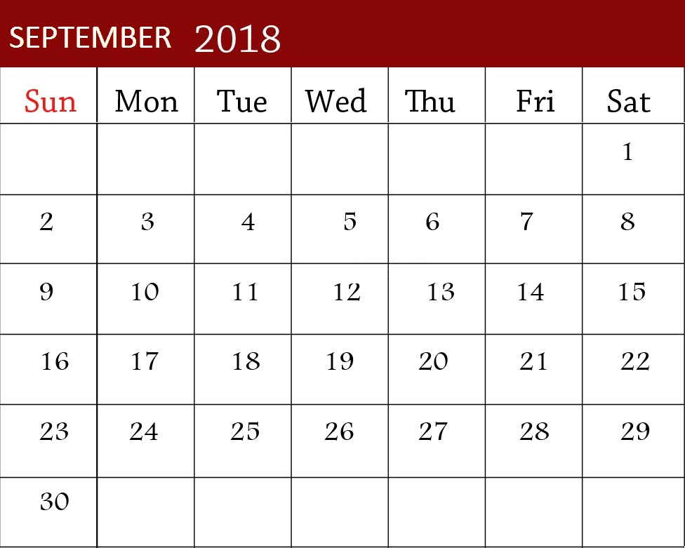 September 2018 Calendar Excel Worksheet