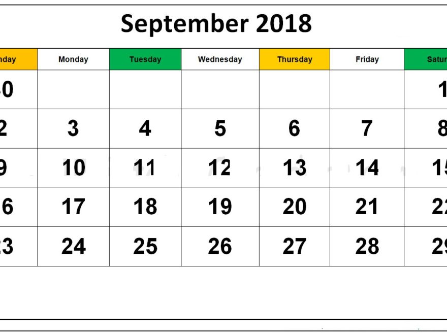 September 2018 Calendar India With Holidays