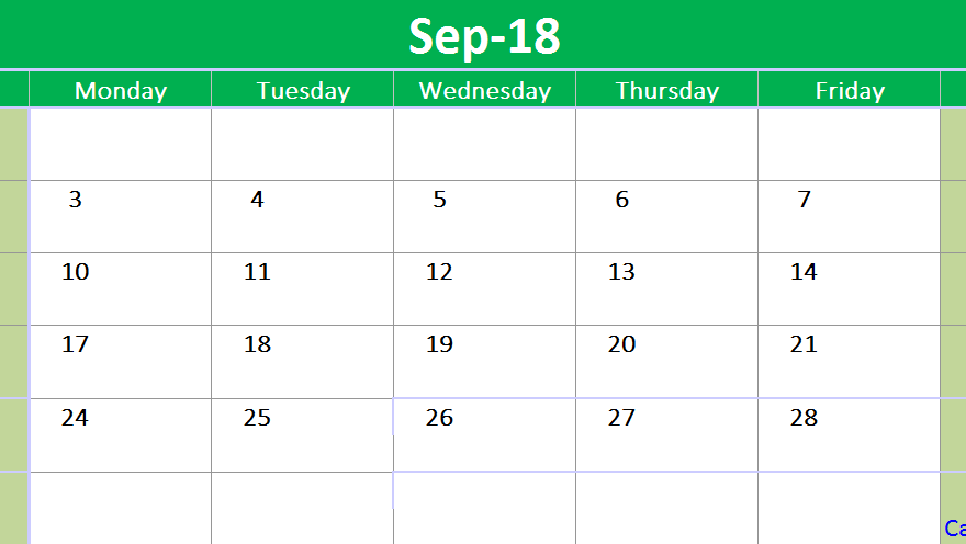 September 2018 Calendar Printable Template Excel
