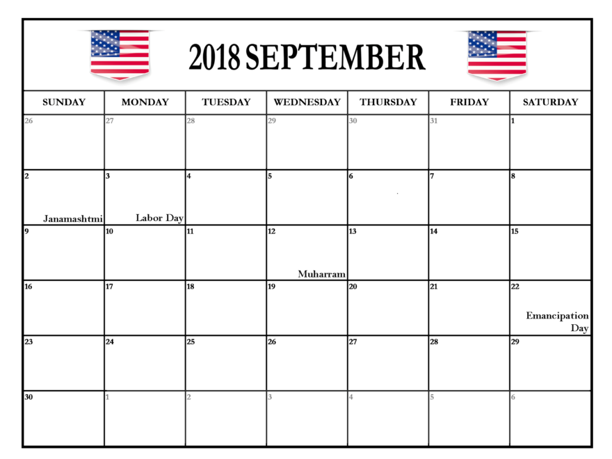 September 2018 Calendar US With Holidays