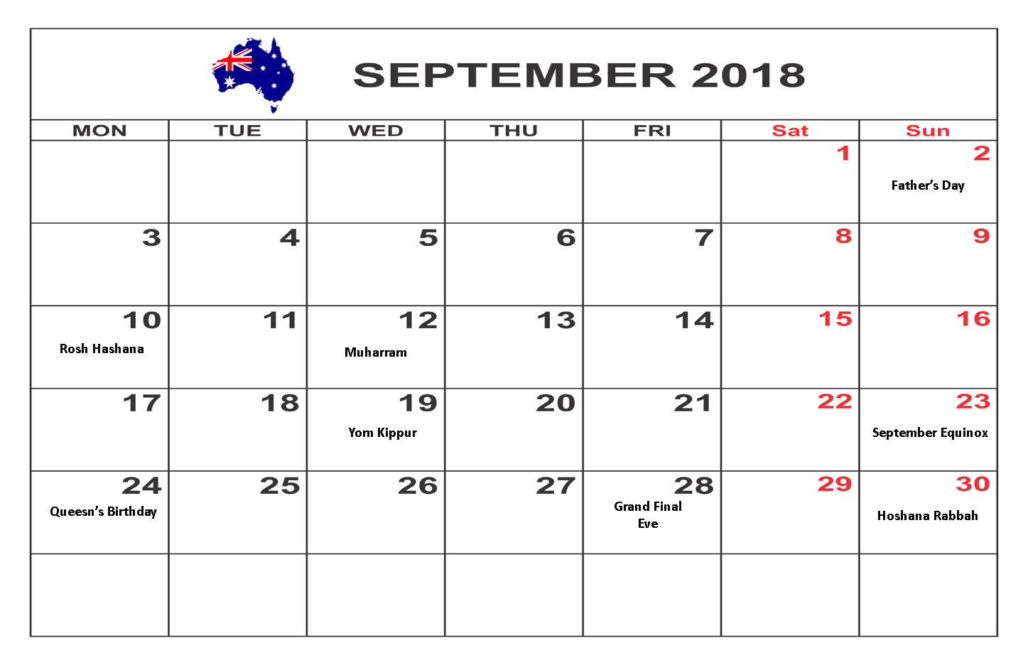September 2018 Calendar With Australia Bank Holidays