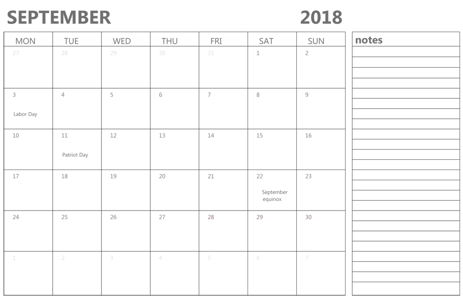 September 2018 Editable Calendar With Holidays