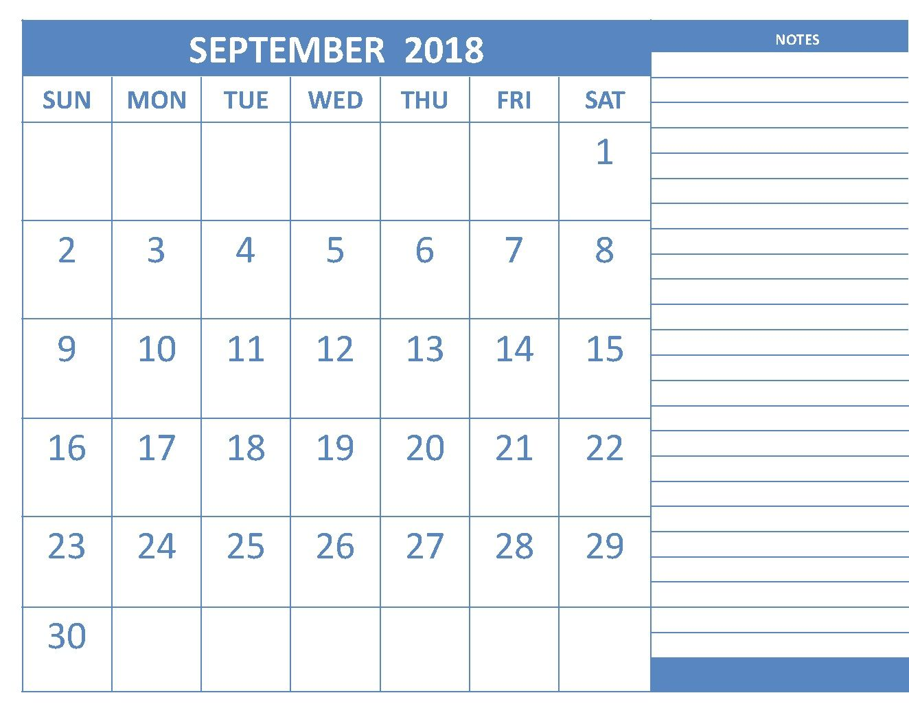 September 2018 Editable Calendar With Notes
