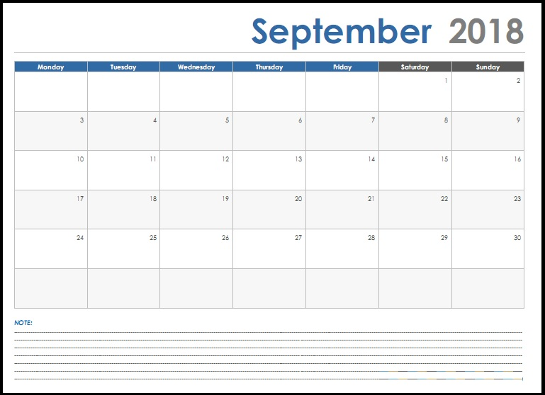 September 2018 Excel Calendar With Notes