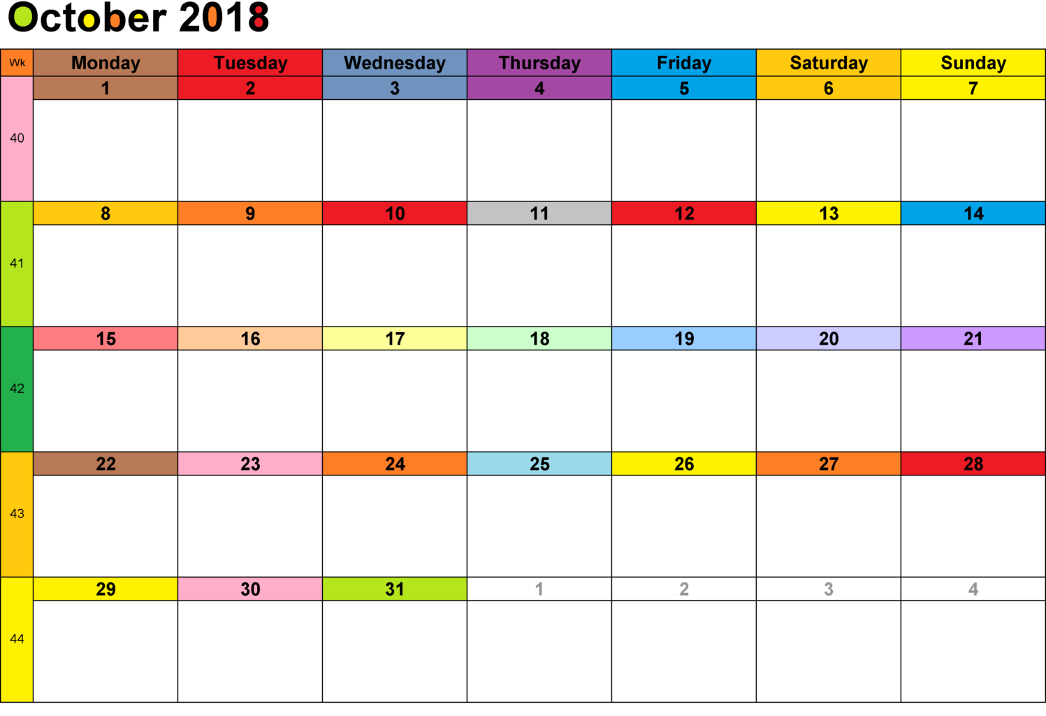 September 2018 Excel Spreadsheet Calendar
