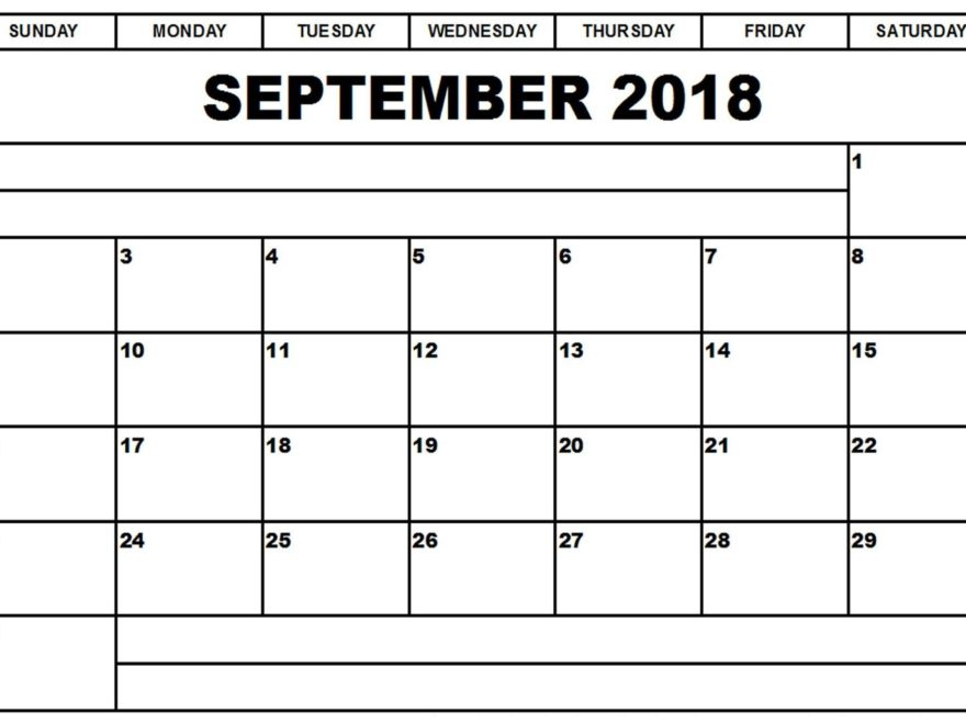 September 2018 Monthly Calendar With Notes