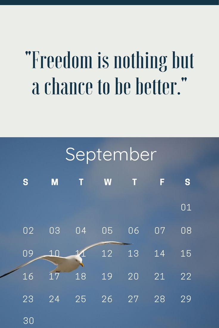 September 2018 Motivation Calendar