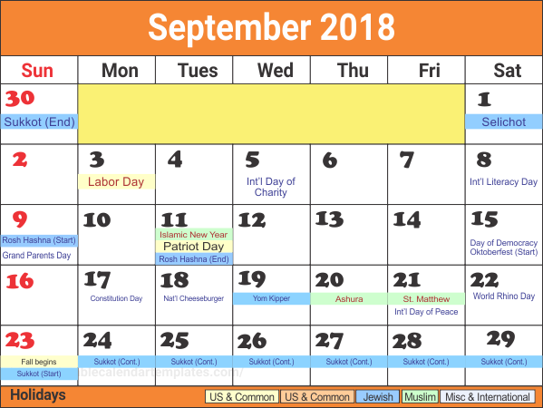 September Calendar 2018 With Holidays Dates