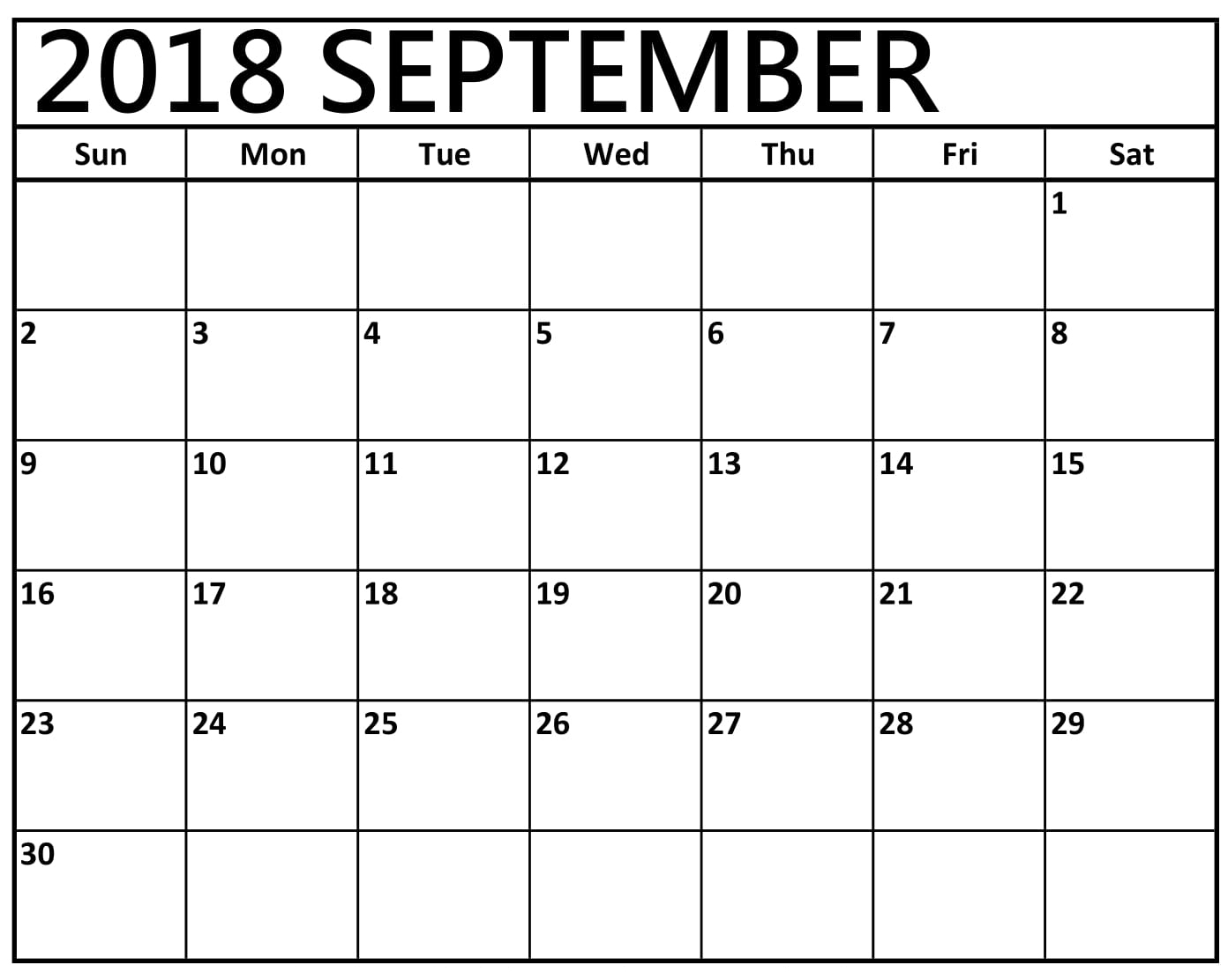 September Monthly 2018 Calendar Excel